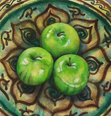 Watercolor painting of three green apples sitting in a green and brown decorated Persian bowl