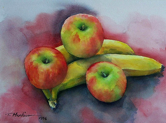 watercolor painting of red-yellow apples on yellow bananas