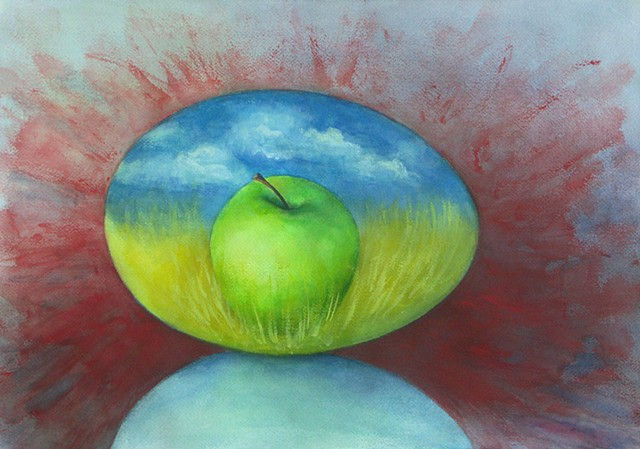 Watercolor painting of an egg with a green apple inside in a landscape of blue sky an yellow wheat field, surrounded by splashes of red outside the egg
