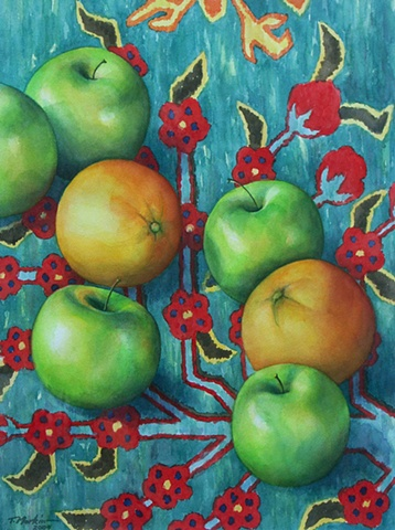 watercolor painting of green apples and bright oranges scattered across a green patterned Azeri rug