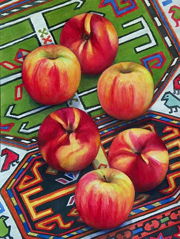 watercolor painting of golden red apples and golden red nectarines on an Azeri rug