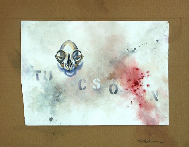 watercolor painting of a grinning skull surrounded by blood spatter, smudges, and the letters TUCSON