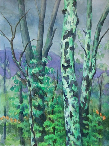 Watercolor painting of bare winter trees on a stormy day