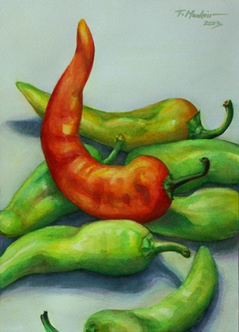 watercolor painting of a tangle of green, yellow, and red banana peppers