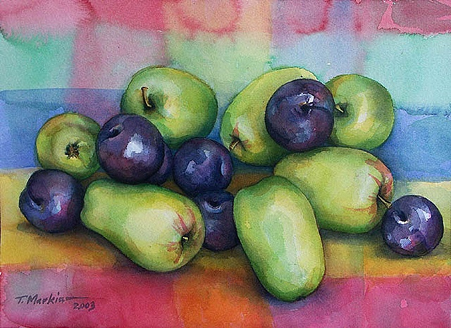 watercolor painting of a pile of funny shaped little green apples and plums on a brightly colored cloth