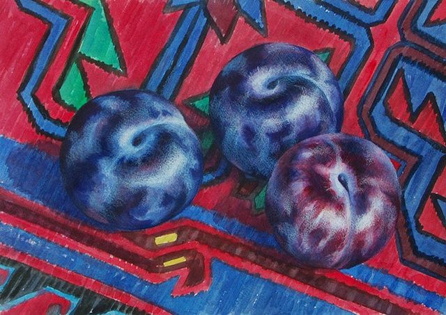 watercolor painting of three dark blue plums sitting on an Azeri kilim