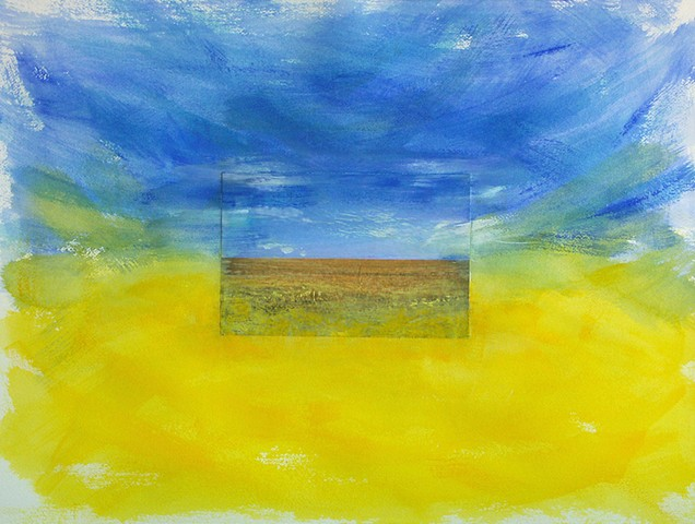 Watercolor painting landscape with a collaged image of blue sky above a yellow wheat field surrounded by exuberant brushstrokes of blue and yellow