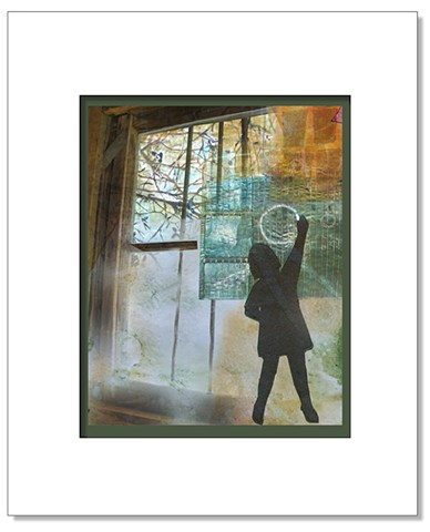 Dream-like image created by collaged images of window, child at blackboard and textures