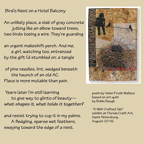 "Poem based on ""Fledgling"" quilt from the Well-Crafted Tale project."