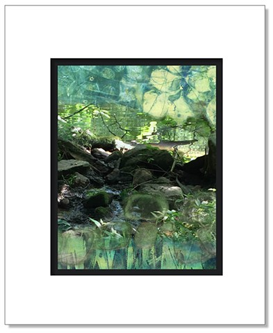 A stream with rocks beside green sparkling water, overlaid with printed monotype patterns