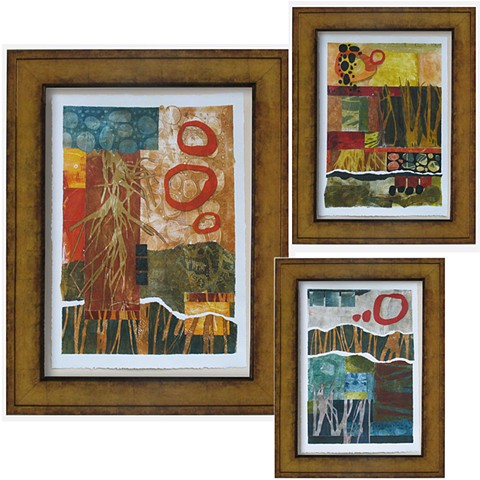Abstract landscapes, show above and below ground, Monotype Collage