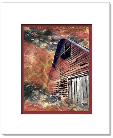A weathered barn, stream water rippling over pebbles with autumn textured printed fabric