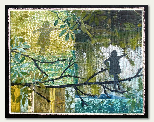 Monotype Collage on Fabric with digital photo transfer on fabric