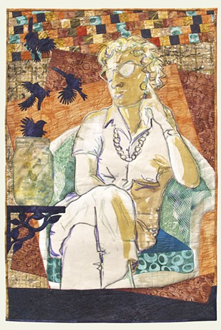 mixed media textile art, a strong, serene older woman seated. Birds fly from jars