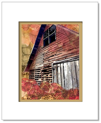 Photo collage of an old barn with rich autumn patterns overlaid