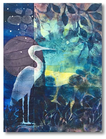 Deep blues and violets fill a river's edge scene and silhouette a wading bird