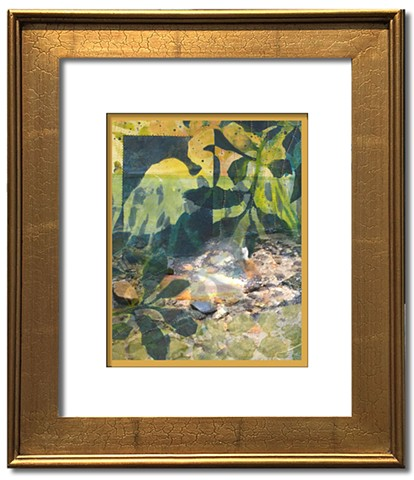 Monotype Printed wading bird silhouette blends with running stream in golden hues