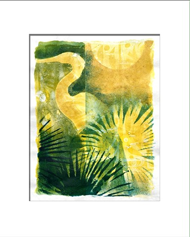 Wading Bird with Palmettos in yellows and greens