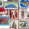Group of postage stamp paintings