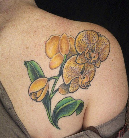 orchids flower tattoo colour j majury