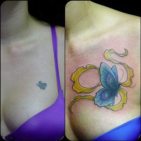 butterfly coverup ribbon color tattoo by j. majury