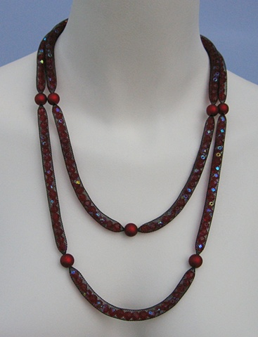 Double Strand Red Crystal Necklace