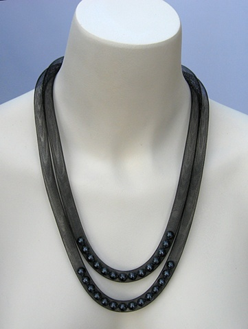 Double Strand Grey Pearl Necklace