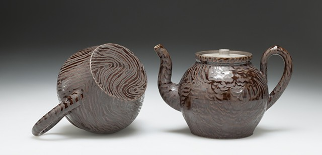 Faux Wood Group/Two Teapots (detail)