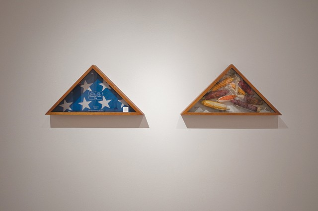 Two Triangular Memorial Flag Cases/ Dos contenedores triangulares de bandera funerarias