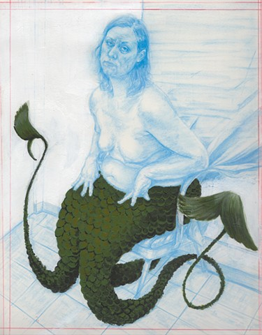 "fairy tale D4              2012 Non-photo blue pencil & acrylic on paper  9.75"" x 13"""