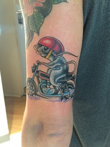 mouse and a motorcycle tattoo