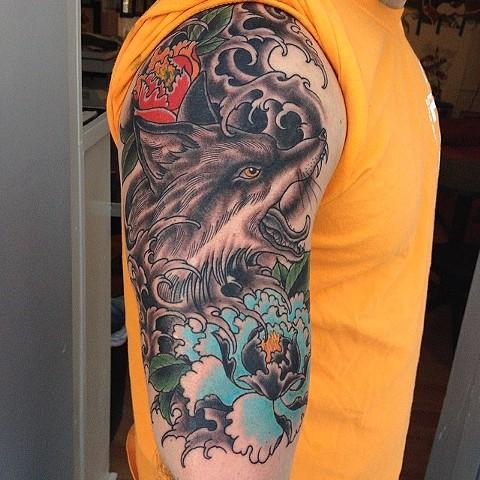 fox and peonies tattoo