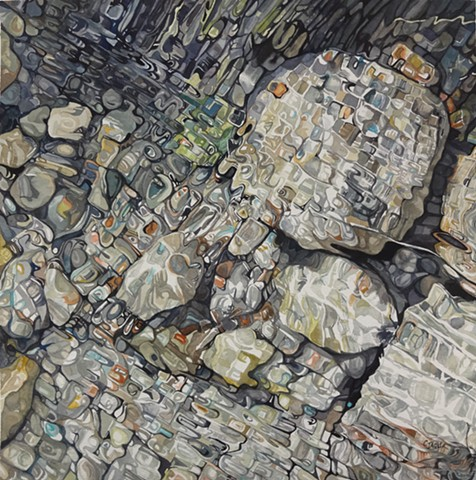 Watercolour painting with reflection, rocks, colour, abstraction, water