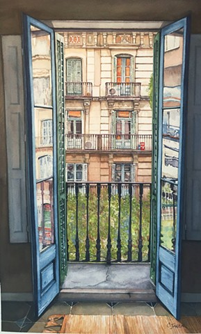 Watercolour Painting by Conny Jager  Door of Barcelona