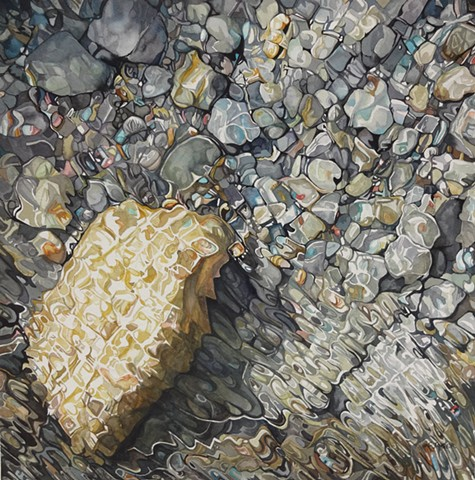 watercolour painting of rocks under water with colour, abstraction, and reflection