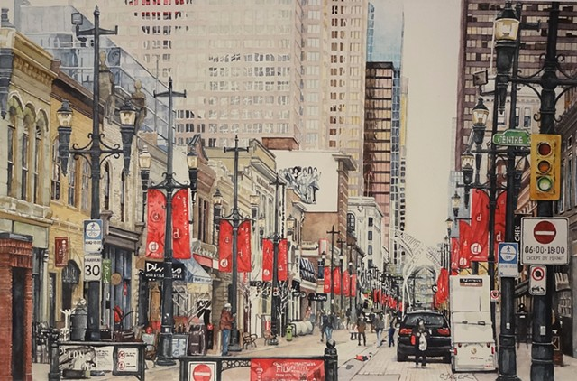 Downtown Calgary Watercolour Painting by Conny Jager