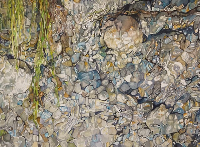 Watercolour painting of rocks, water, and reflection
