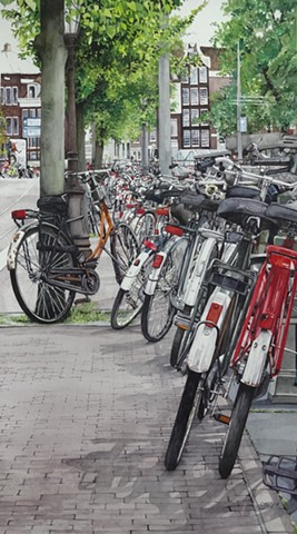 Paintings of Bicycles in Holland