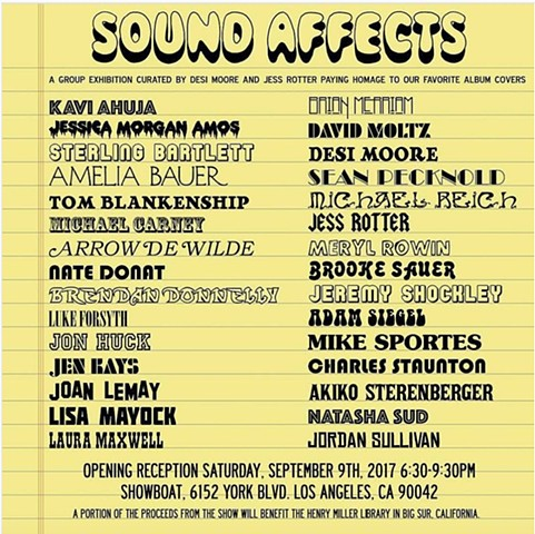 SOUND AFFECTS GROUP SHOW, 9/9 AT SHOWBOAT GALLERY IN LOS ANGELES
