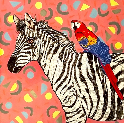 Parrot and Zebra (for Holiday House NYC, featured in Architectural Digest)