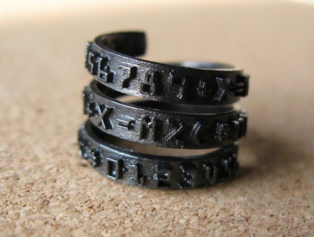 Black Number Band Wrap Ring