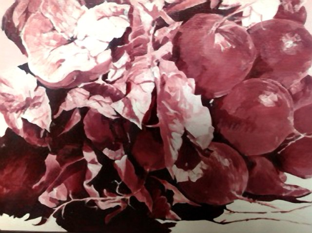 Oil painting of radishes