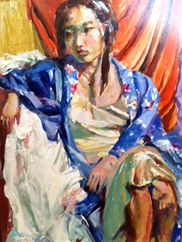 Oil painting of a China woman