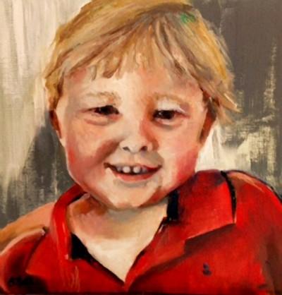 Oil portrait of a young boy