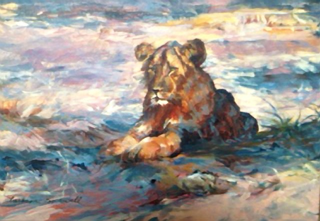 Oil Painting of a Female Lion resting