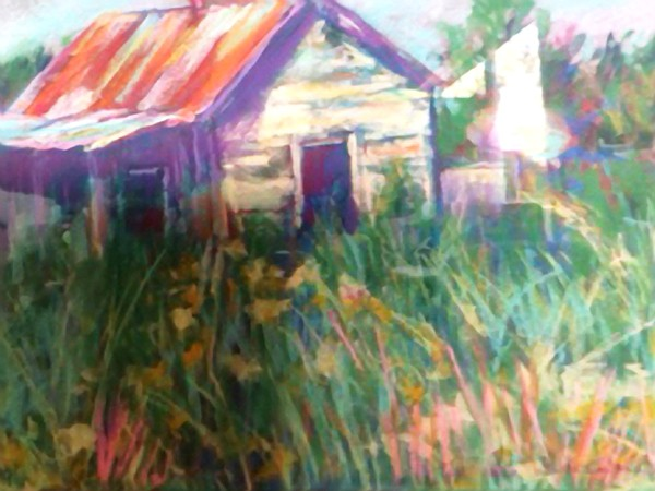 Pastel painting of a barn