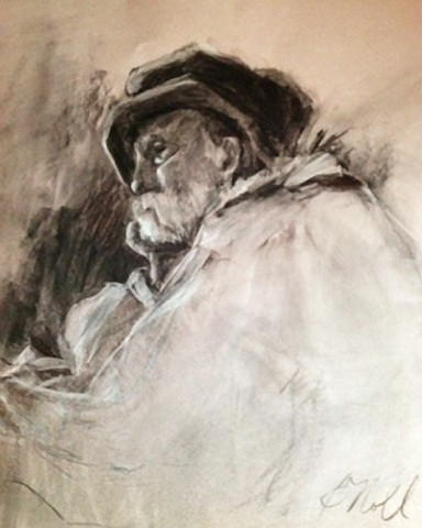 Charcoal drawing of elderly man