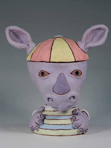Rhino Boy Lidded Jar