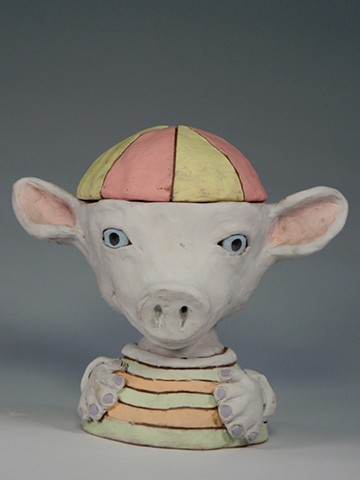 Pig Boy Lidded Jar