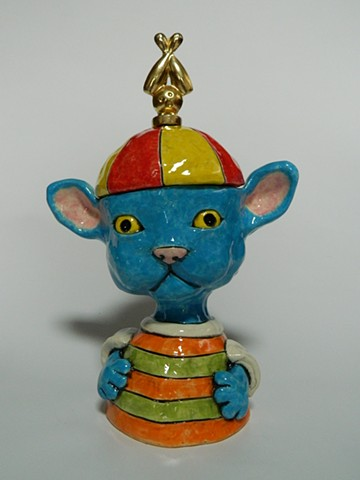Blue Cat Lidded Jar